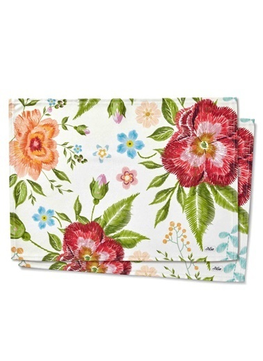 The Mia Floral Amerikan Servis 2 Li Set A - 50 x 30 Cm - Beyaz Çiçekli Beyaz